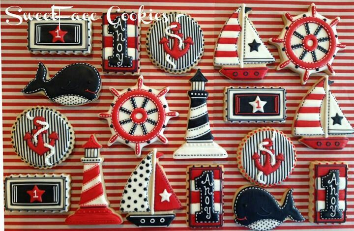 Decorated Sugar Cookie | Nautical | Lighthouse | Sailboats | Whale …