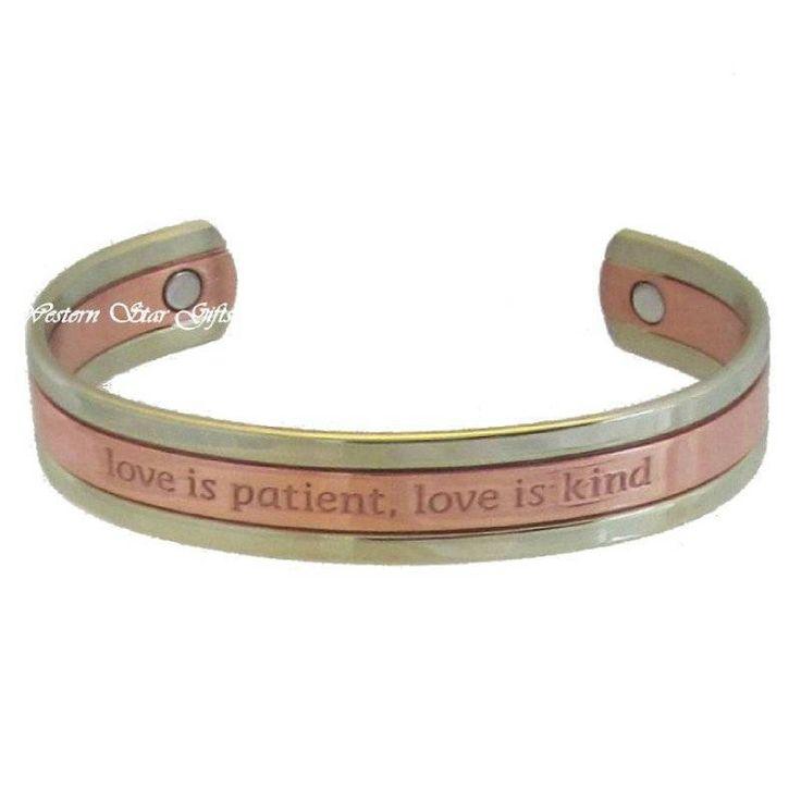 Magnetic Bracelet Silver Copper Message Jewelry Love is Patient Arthritis Relief | eBay