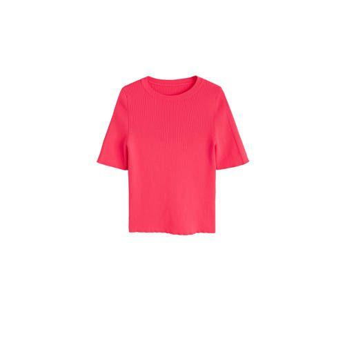 Ribgebreide trui fluor roze