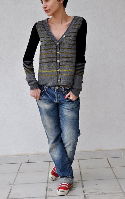 used fingering yarn with smaller needle made into a cardigan Different stripe-pattern want to make it boxy and short but keep the fitted sleeves.  Ha haaa…. it is finished and does not look l...