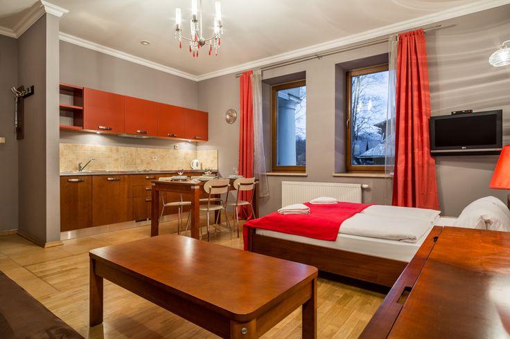 Radowid 12.  Jest to stylowo urządzony apartament w którym może wypoczywać do 4 osób. W jego skład wchodzą: salon z telewizorem, rozkładaną sofą i dużym podwójnym łóżkiem, w pełni wyposażony aneks kuchenny z częścią jadalną, łazienka z prysznicem. http://www.tatrytop.pl/apartament-radowid-12-basen-centrum-zakopane