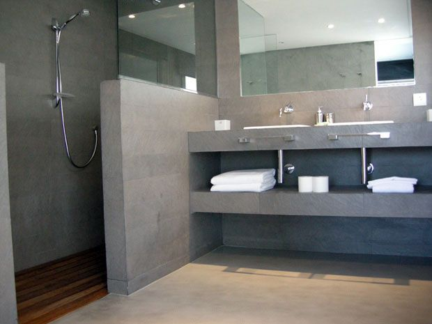 Decoración Ideal: Baños de concreto pulido.
