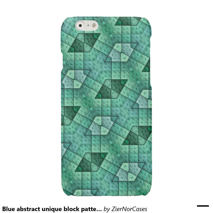 Blue abstract unique block pattern glossy iPhone 6 case