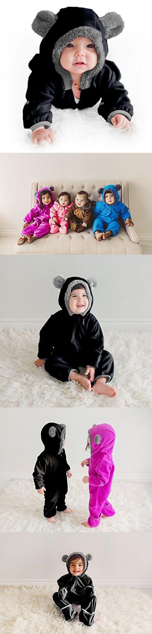 Funzies Baby Bunting Fleece Hooded Romper Bodysuit (6-12 Month, Black)