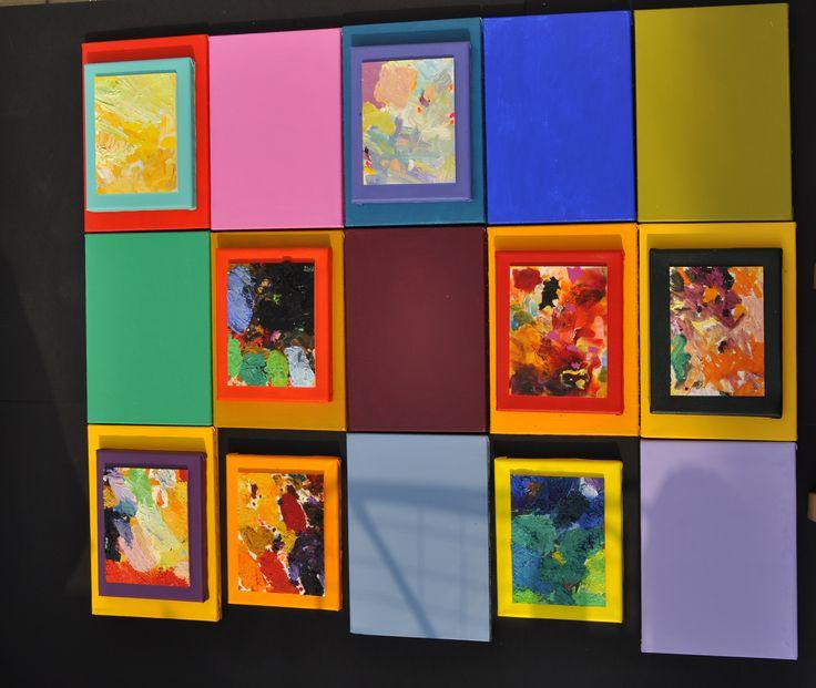 """KRZYSZTOF PAJĄK """"Kompozycja 15 elementów"""" 2011r. akryl,olej,płótna 125x105cm."""