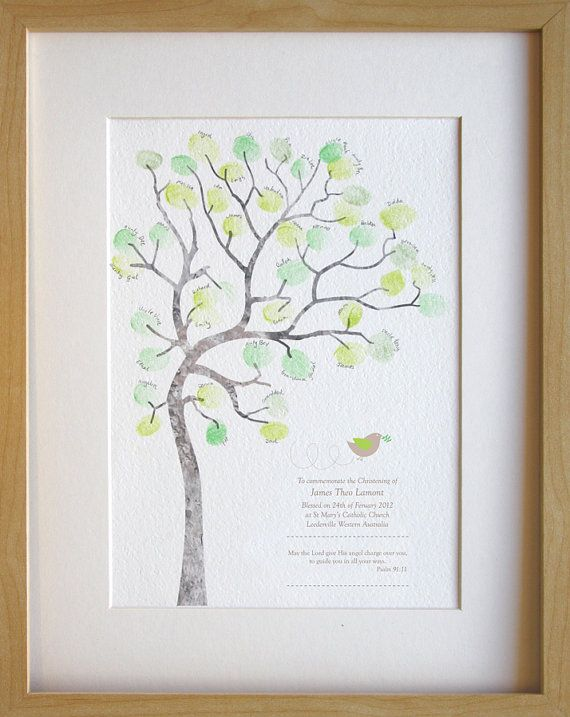 This baby boy fingerprint tree is a perfect gift or memento to commemorate yours or someones special babys baptism, christening or naming day ceremony! This A4 (210x297mm) sized print is printed onto textured cotton paper. There is space for up to 80* fingerprints. (*Using small fingers and placing prints not just on the tips of branches but filling up all of the white space) Babies celebration details are customised, printed along with and a quote, as well as a cute image of a dove with…