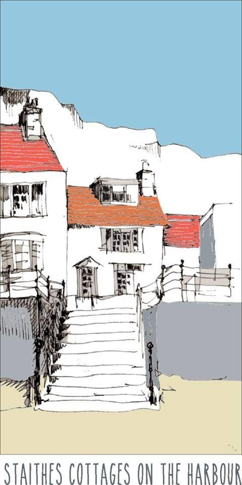 Staithes cottages, digitally coloured | por John Harrison, artist