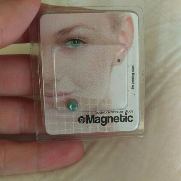 Magnetic nose ring or all purpose New unused  it's a baby blue magnetic rhinestone  cute as a fake nose ring etc  looks real Jewelry Earrings