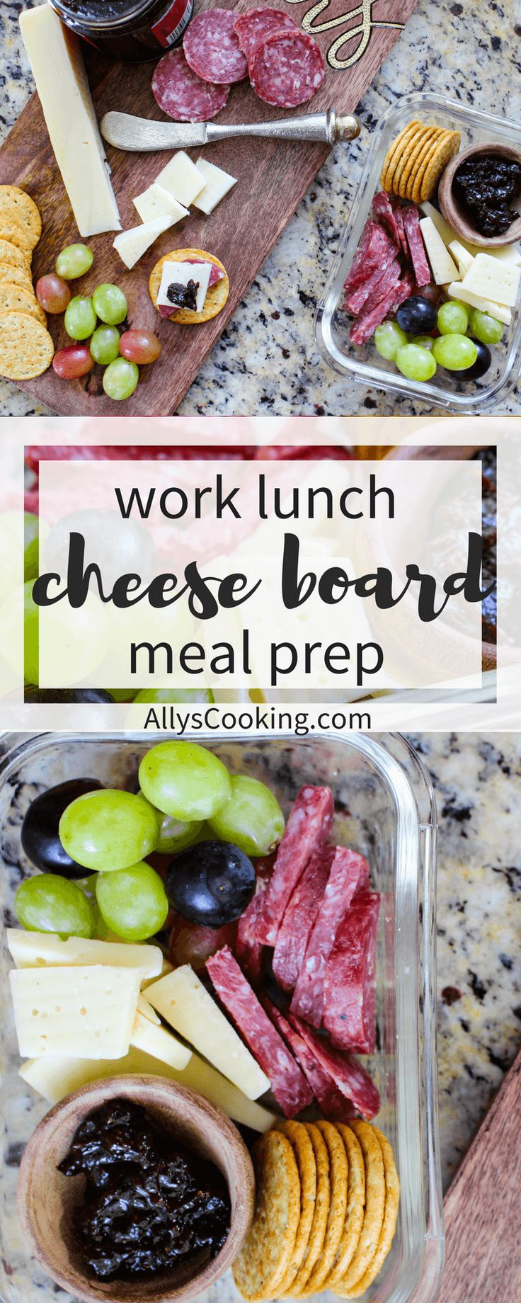 Meal prep this guilty-pleasure cheese board for work lunches and spoil yourself for under 500 calories! via @allyscooking