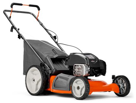 Husqvarna LC 121P Lawn Mower. An efficient, yet powerful, push mower with a compact design and high wheels that makes it easy to maneuver in tight spaces. The LC 121P features three cutting modes; collection, mulch and side discharge.