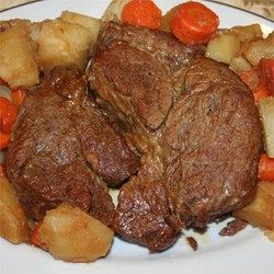 Easy Pressure Cooker Pot Roast with carrots and potatoes