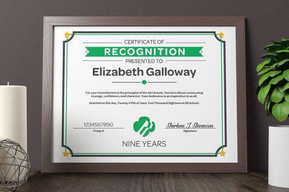 Girl Scout Certificate of Recognition | PDF Template