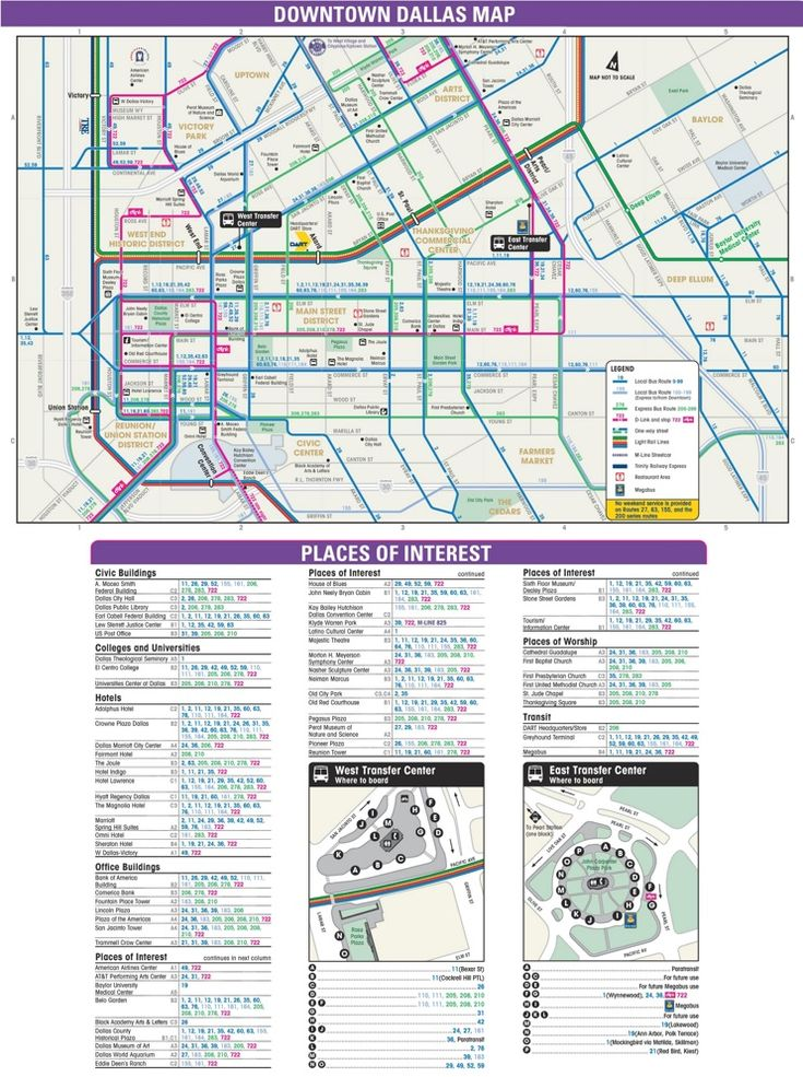 Downtown Dallas transport, hotel and sightseeing map - Dallas ... on