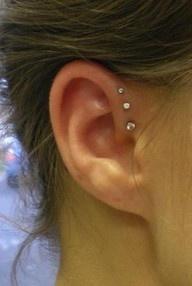 pretty: Style, Piercing Ideas, Beautiful, Ear Piercings, Triple Helix, Tattoo, Triple Forward Helix, Ears Piercing, Helix Piercing
