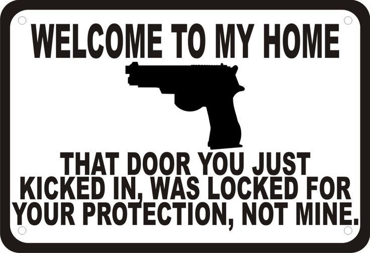"Welcome to My Home Gun Security Humor 10""x7"" Sign 
