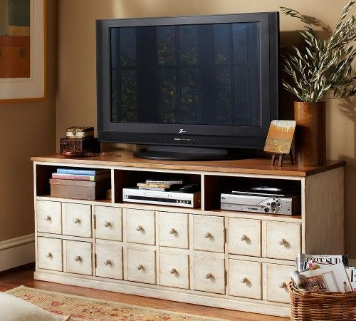 Knock off Pottery Barn media console from Ana White.  Possibility for Iris.