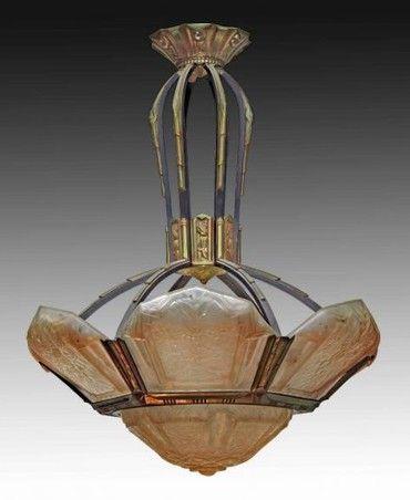 «BersoАнтик» - Антикварная люстра в стиле арт-Деко. Плафоны - стекло. Каркас - металл с вставками из золоченой бронзы. Подписана Pierre Maynadier. Франция, середина XX века.
