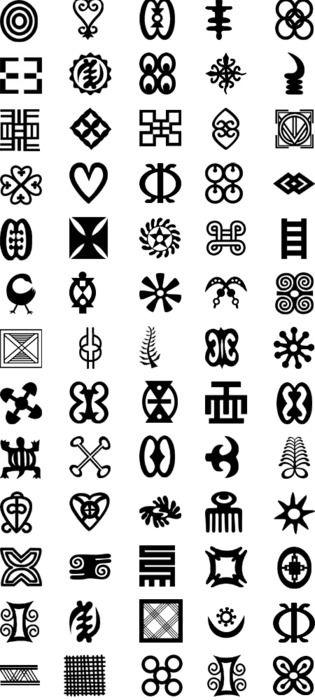 Adinkra symbols of the Akan people of Ghana and the Ivory Coast