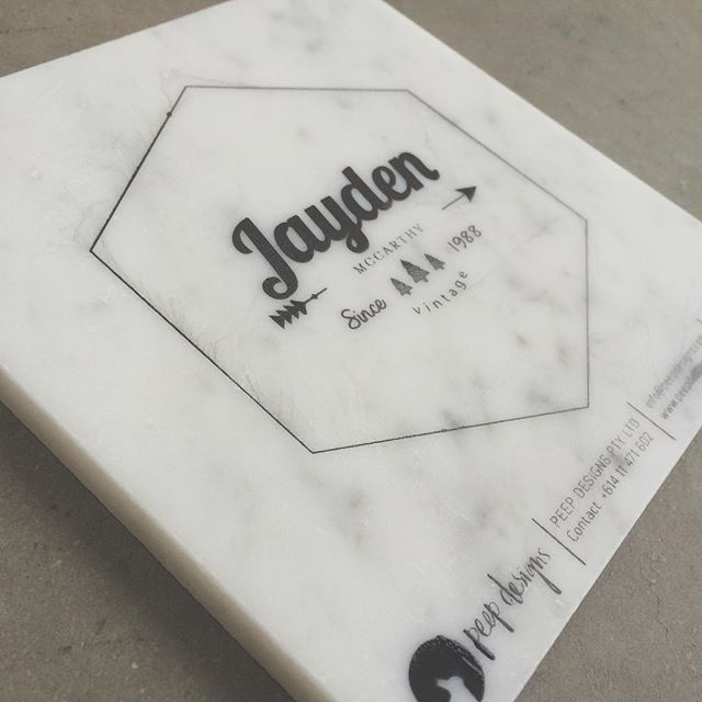 """""""A little preview of our marble samples just for your evening viewing pleasure on this cold Tuesday night!  Just cause marble always has that ooooooo effect on people.  YES... We print on marble  #silkscreen #screenprint #typogaphy #creative #printingonmarble #marble #printonmarble #geometric #logo #design #marbleprinting #custom"""""""