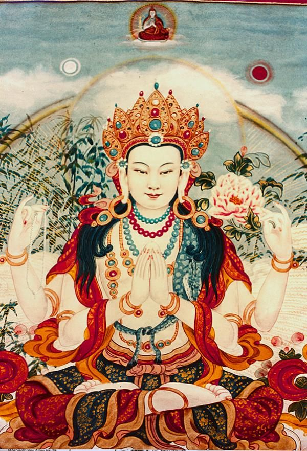 The Bodhisattva of Compassion is known in Sanskrit as Avalokitesvara, in Tibetan as Chenrezig, and in Chinese as Kuan Yin.