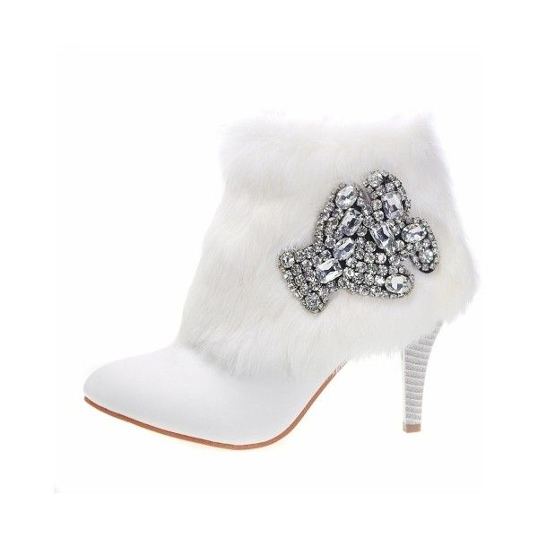 white fur leather couture high heel dress winter ankle