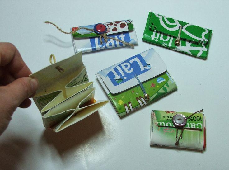 porte monnaie recyclé insolite avec récupération brique lait à customiser avec autocollants par enfants par severine peugniez