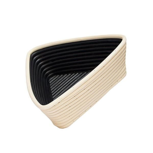 triangular rattan bowl with black painted inside