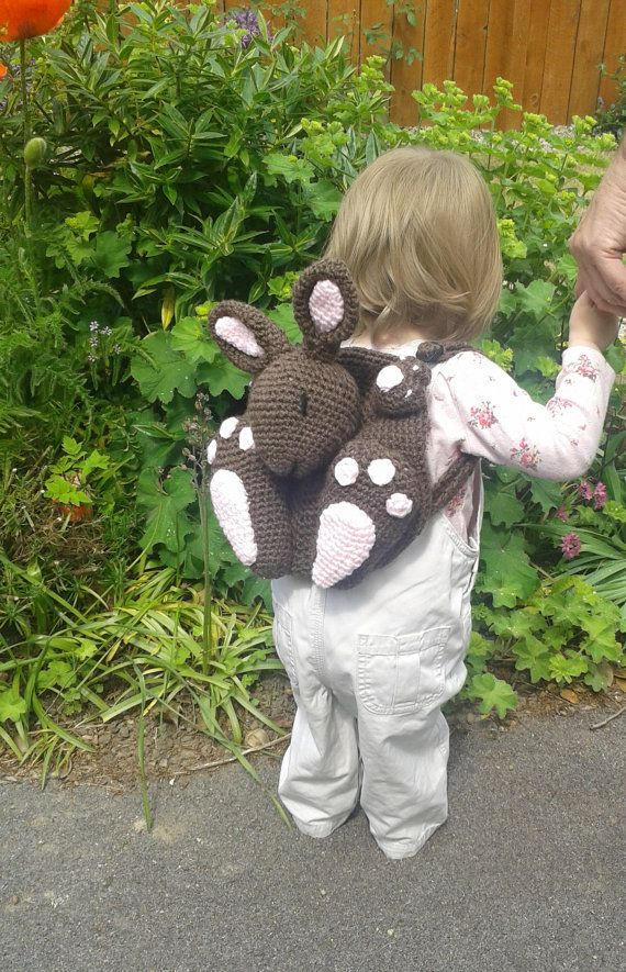 Bunny Rabbit Kid's Backpack / Pyjama Case by PeachUnicornCrochet
