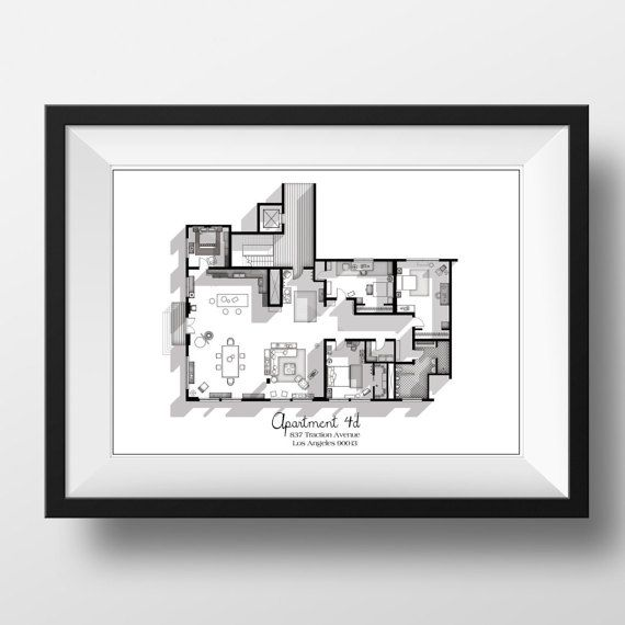 This New Girl Apartment Floor Plan Art Print is the perfect gift for all New Girl TV Show fans. It accurately shows the industrial styled apartment 4D along with its four bedrooms and large living space. It shows all tiny details of the apartment and is a great conversation starter. This print is created with pure love for art, architecture and tv! Hope you enjoy it just as much as I enjoyed making it! *FRAME NOT INCLUDED MAKE USE OF OUR FREE SHIPPING OFFER with code FREESHIPPING when you…