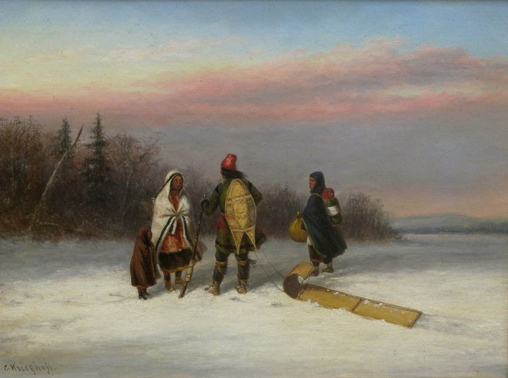 'Wayside Chat' by Cornelius Krieghoff  Oil on canvas, 1855  at Mayberry Fine Art