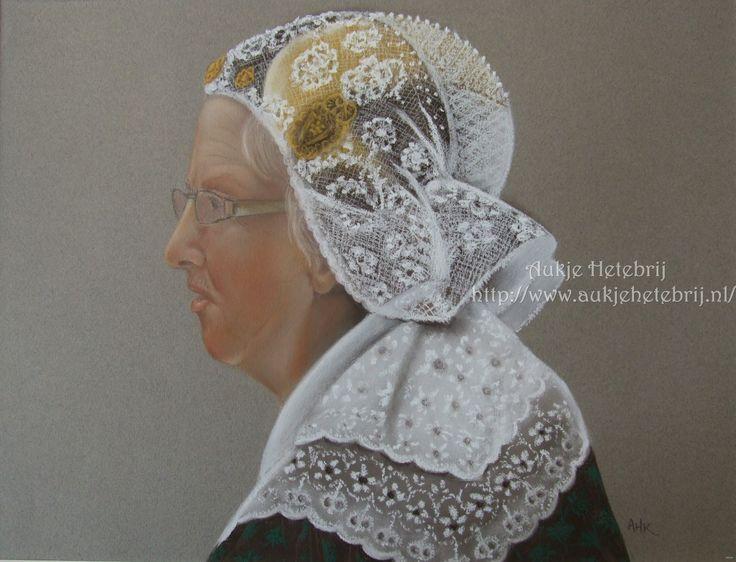 Pastel painting Dutch costume (Drenthe) 30 x 40 cm. Made by Aukje Hetebrij.  www.aukjehetebrij.nl