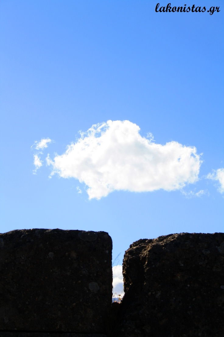 Ancient stone, blue skies, a cloud | Sparta, Lakonia