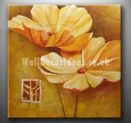 """Flower Hand-painted Oil Painting with Stretched Frame - 20"""" x 20"""""""