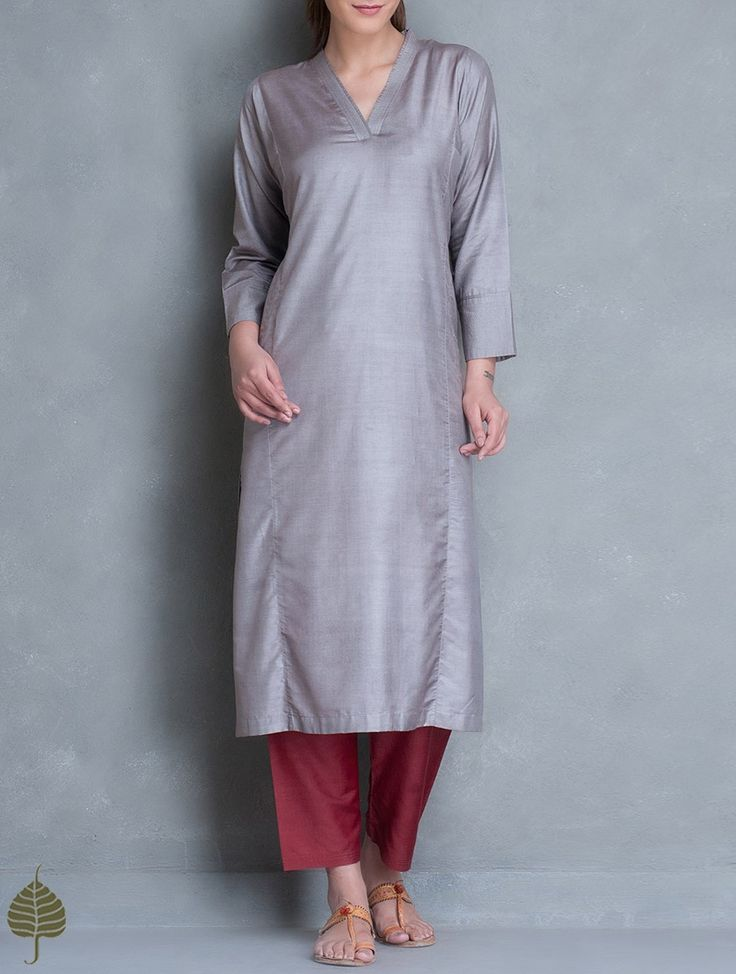 Buy Grey Silk Cotton Kurta by Jaypore Women Kurtas Online at Jaypore.com