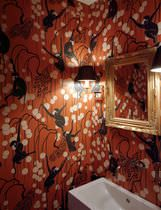 Traditional wallpaper / animal motif / fabric look / hand-painted