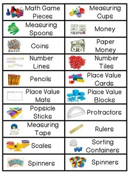 Keep those math tools organized! Math Manipulative Labels FREEBIE! by Sheila Melton | Teachers Pay Teachers