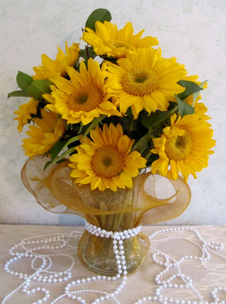 Sunflower Centerpiece with Pearl Detail  Floral Design  Sunflower centerpieces Candle