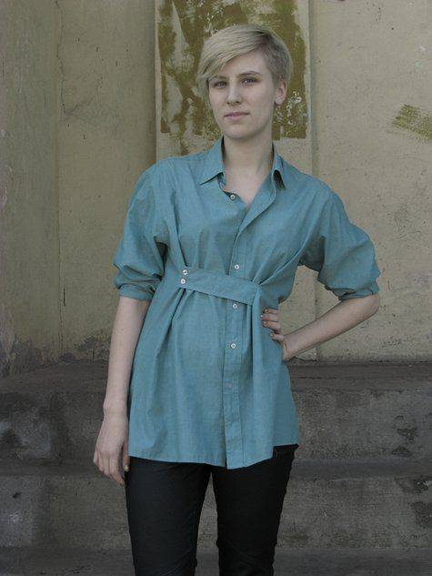 Shirt alteration great idea to reduce the size of a top without cutting it ;) great...if you rin the weight loss process and hate to get rid for clothing you love...smart #upcycle