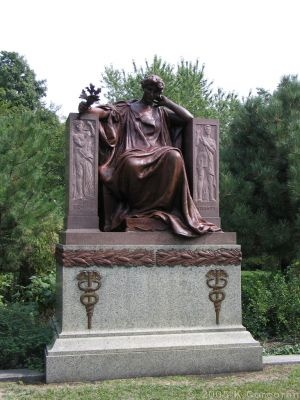 Graceland Cemetery, Chicago: Marshall Field Monument  monument, known as Memory, was designed in 1906 by Daniel Chester French and Henry Bacon, who later went on to create the Lincoln Memorial.