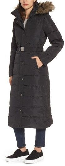 MICHAEL Michael Kors Women's Water Resistant Maxi Puffer Coat With Detachable Hood And Faux Fur Trim