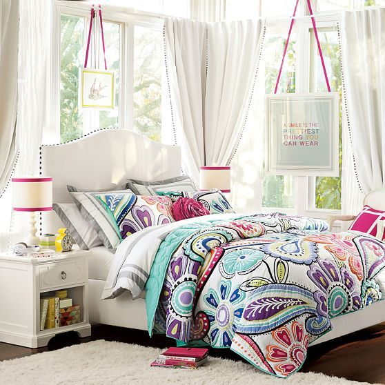 Raleigh Camelback Upholstered Bed + Headboard | PBteen
