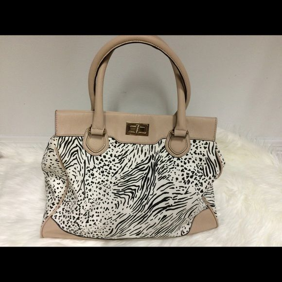 Large animal print black white and nude tote bag Large animal print, cheetah print, zebra print, nude color, attachable strap, gently used. ALDO Bags Totes