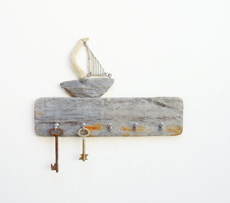 Drift Away - Key Holder Rack, Jewelry Organizer Rack - Driftwood, Textile, Metal.  via Etsy.