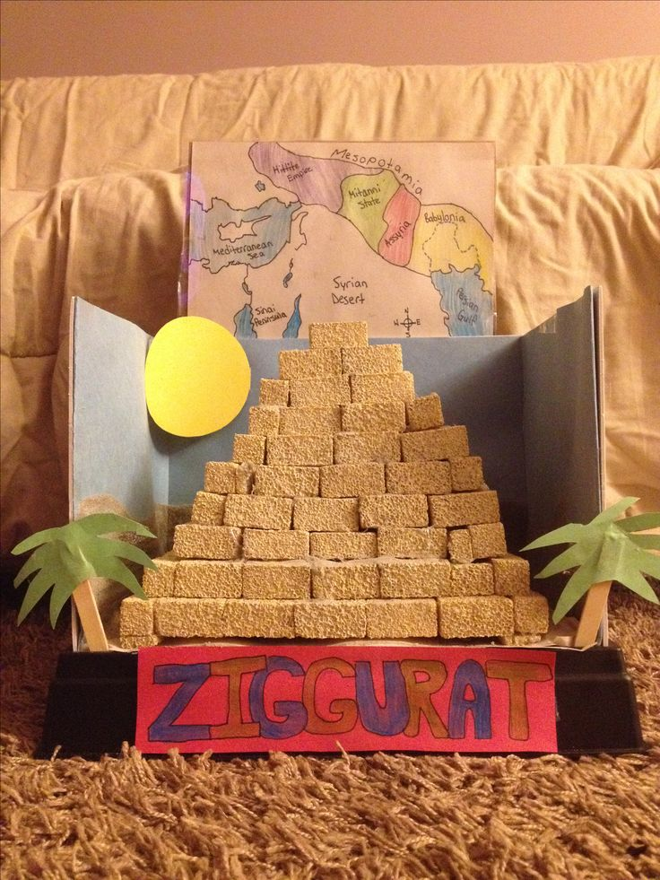Pyramid of Ziggurat in Mesopotamia project made with
