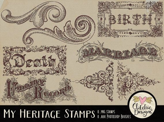 Vintage Digital Stamps Embellishments  Digital by ClikchicDesign