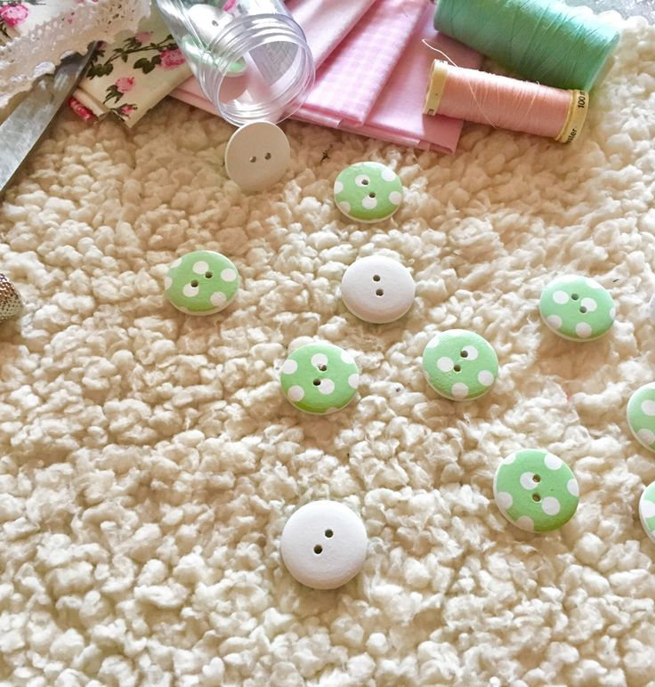 A personal favorite from my Etsy shop https://www.etsy.com/listing/507687199/5-mint-wooden-buttons-with-polka-dots