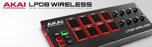 AKAI LPD8 WIRELESS | USB / BLUETOOTH PAD CONTROLLER  USB Controller with 8 Velocity-sensitive Pads, 8 Knobs, 4 Programmable Memory Banks, Editing Software, Battery/Bus Power, and Bluetooth LE Connectivity