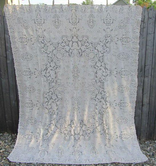 """Vintage Fancy Quaker Lace TABLECLOTH 81"""" x 63"""" Tag NO 1380"""
