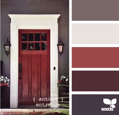 Love the molding around the door and the grey red whit color combo.