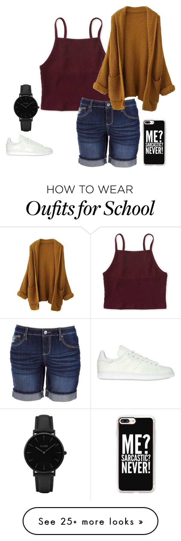 """""""School"""" by mrsbieber123-396 on Polyvore featuring Aéropostale, Earl Jean, adidas Originals, CLUSE and Casetify"""